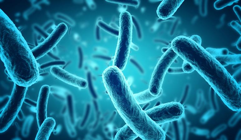 ESG - microscopic blue bacteria